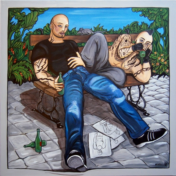 chilling in the park 100X100  acrylique/toile