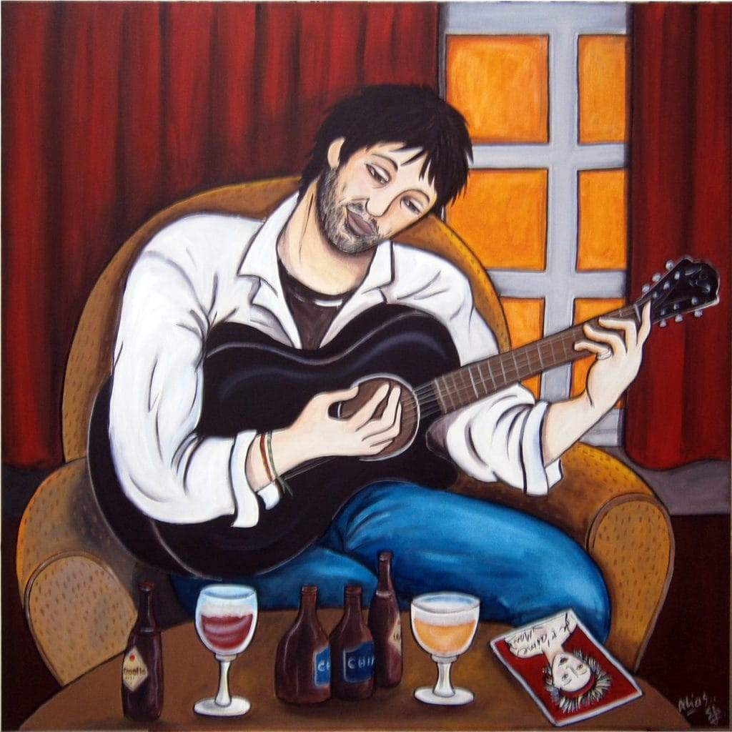 beer blues and love 100x100 acrylique/toile