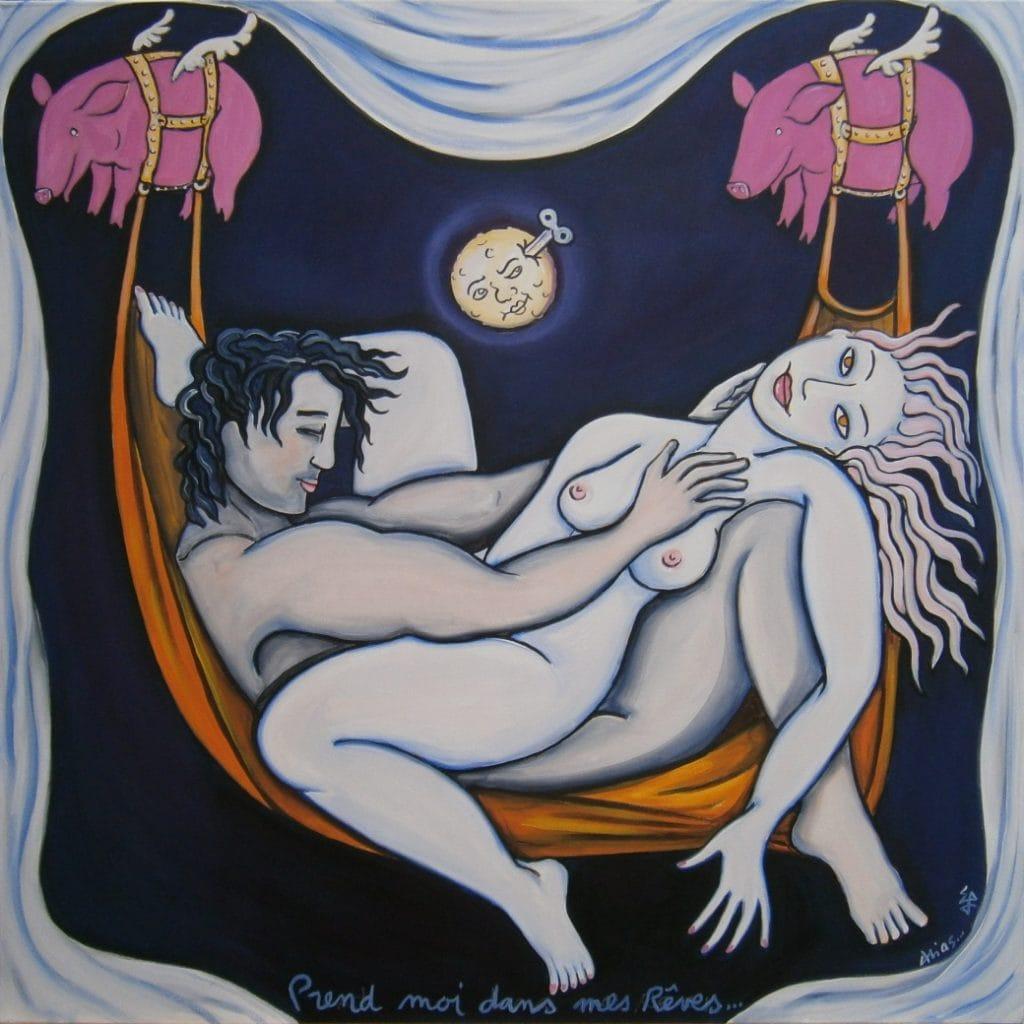 prend-moi dans tes rêves100x100cm acrylique/toile